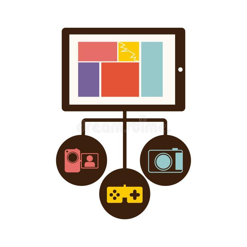 actions d'icône de serveur de base de données de smartphone illustration stock