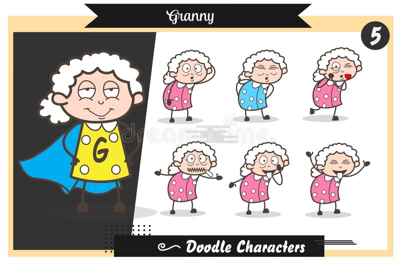 Actions de grand-maman de bande dessinée, poses et ensemble drôles de vecteur d'expressions illustration libre de droits