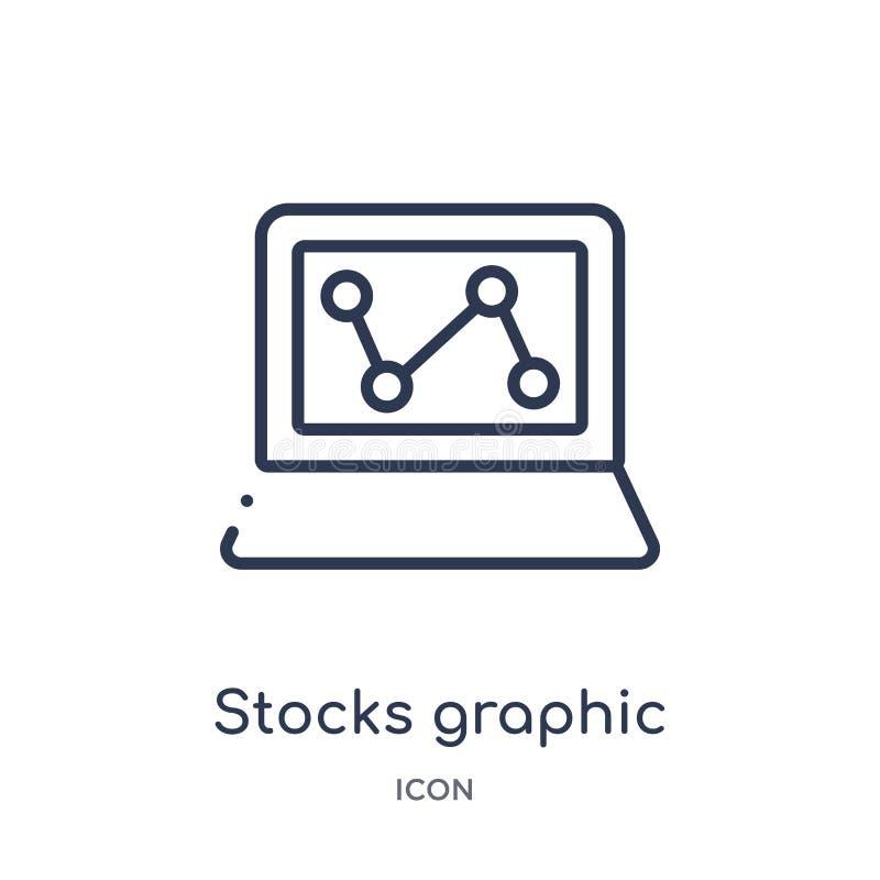 actions graphiques sur l'icône de moniteur d'ordinateur portable de la collection d'ensemble d'outils et d'ustensiles Ligne mince illustration libre de droits