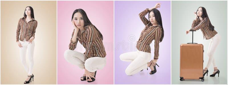Actitud agazapada por belleza asiática atractiva foto de archivo libre de regalías