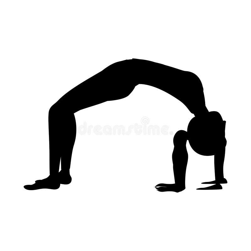 Actitud ascendente del arco de la mujer de la yoga de la silueta libre illustration