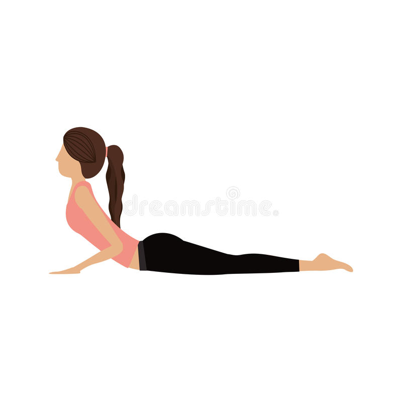 Actitud colorida de la cobra de la mujer de la yoga ilustración del vector