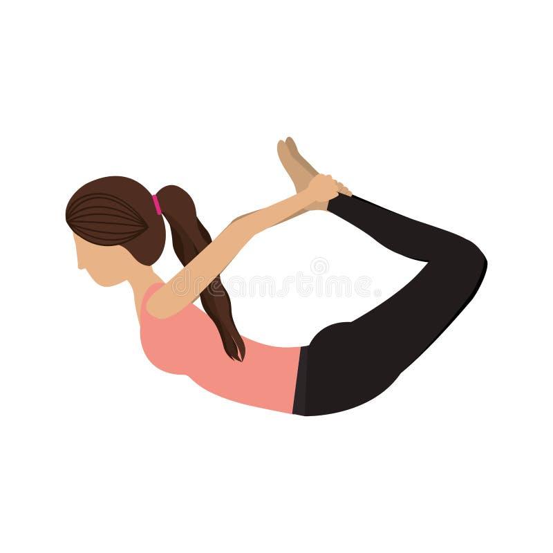 Actitud colorida del arco de la mujer de la yoga stock de ilustración