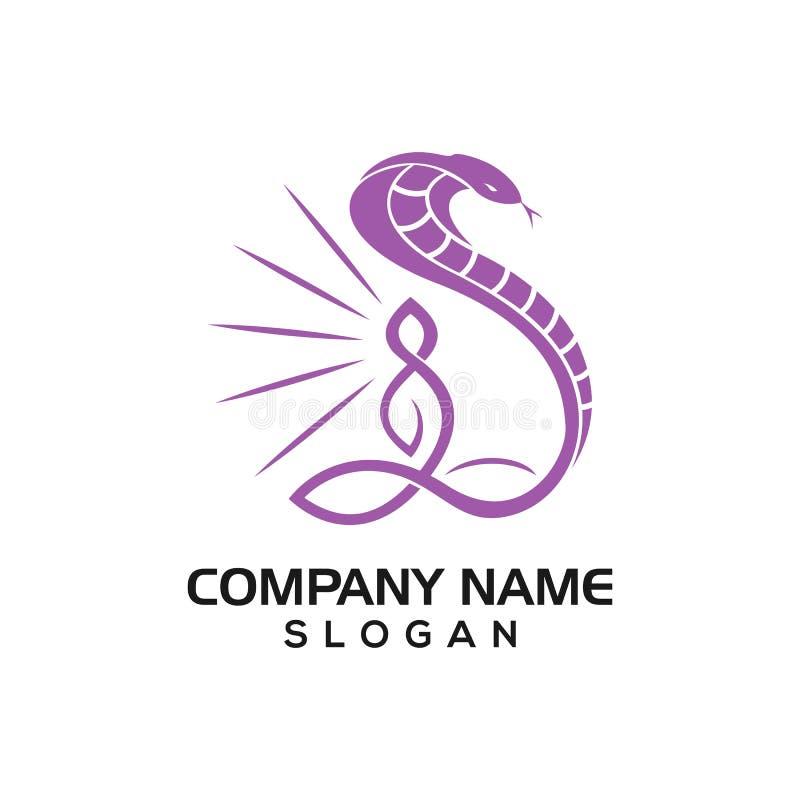 Actitud de la cobra y de la yoga para la terapia o la plantilla sana del icono del logotipo stock de ilustración