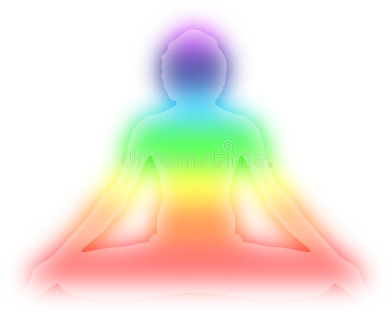 Actitud de la meditación de la yoga con la luz azul de la aureola de la energía en el ejemplo azul claro de la pendiente del fond stock de ilustración
