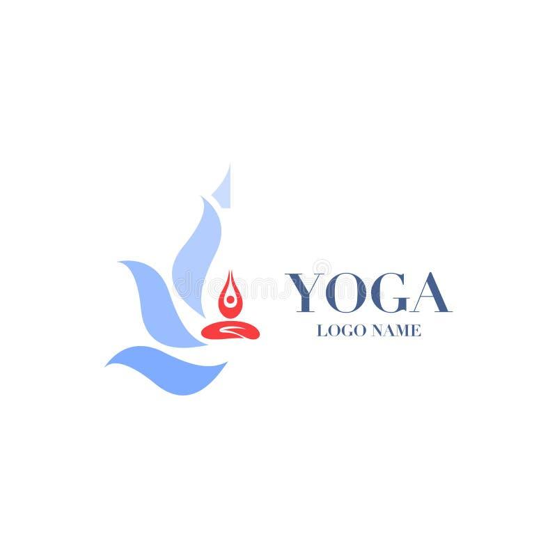 Actitud de la yoga con la flor de loto en el logotipo del fondo, abstrac del icono stock de ilustración