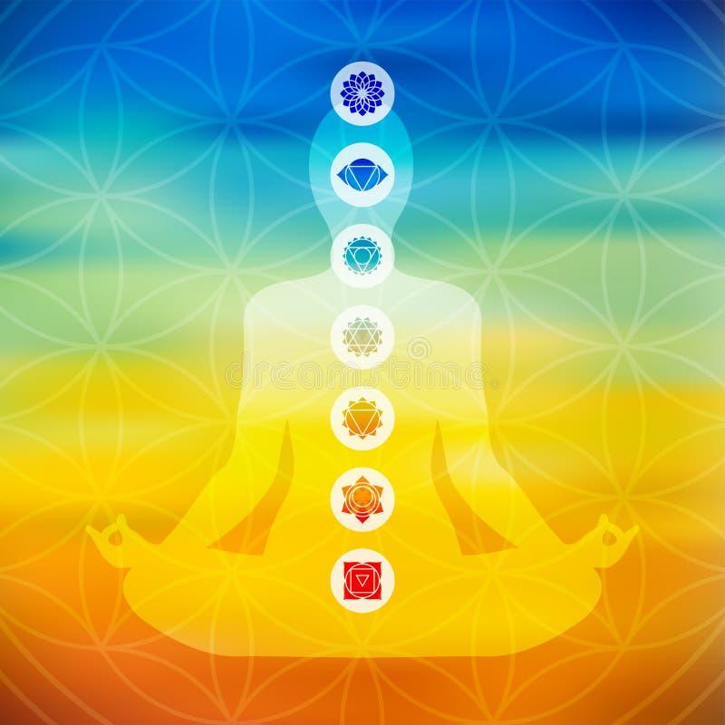 Actitud de la yoga con los iconos del chakra libre illustration