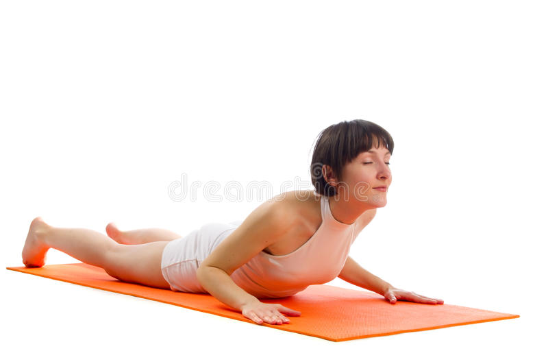Actitud de la yoga de Bhujangasana fotos de archivo libres de regalías