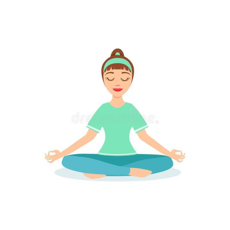 Actitud de la yoga de Lotus PAdmasana demostrada por la yogui de la historieta de la muchacha con la cola de caballo en vector ju stock de ilustración
