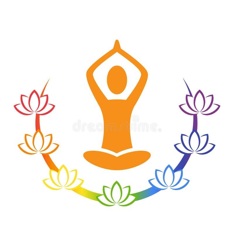 Actitud de la yoga del emblema con los lotos del chakra aislados en blanco stock de ilustración