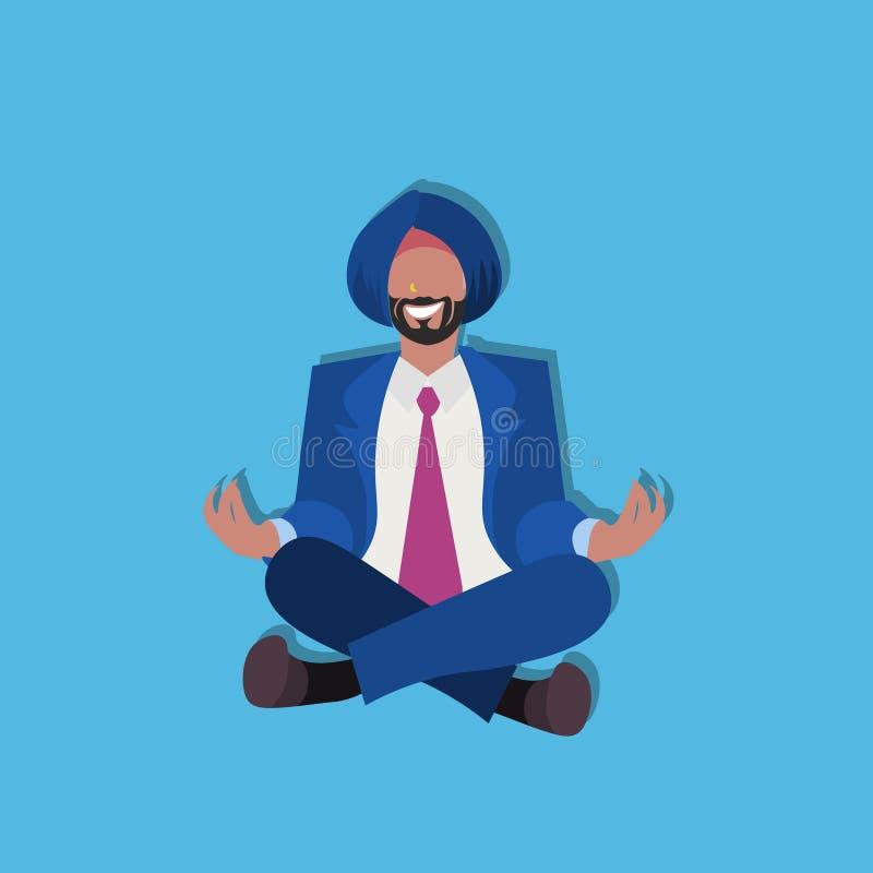 Actitud de la yoga del loto del hombre de negocios que se sienta indio que medita en el personaje de dibujos animados masculino d stock de ilustración
