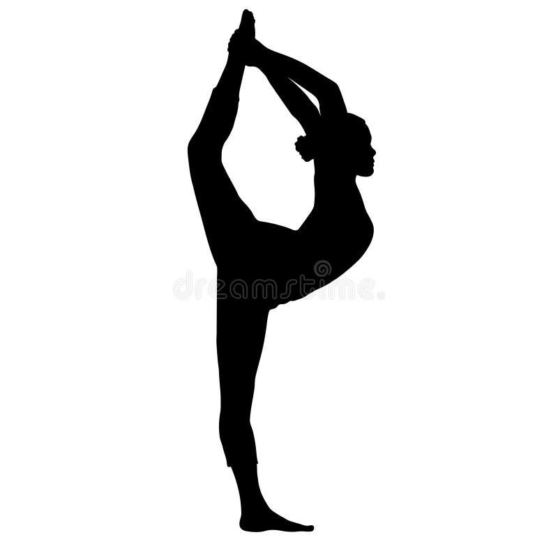 Actitud de la yoga, mujer que hace estirando las piernas, silueta partida de la pierna, retrato del esquema del vector, figura de stock de ilustración