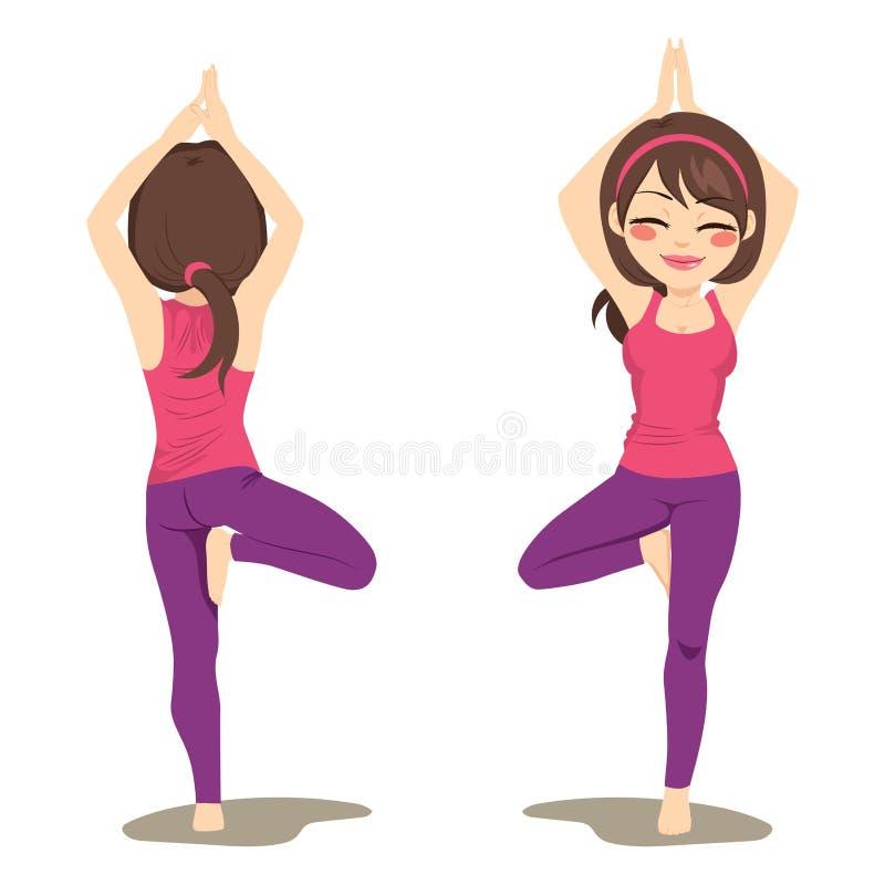 Actitud del árbol de la yoga stock de ilustración