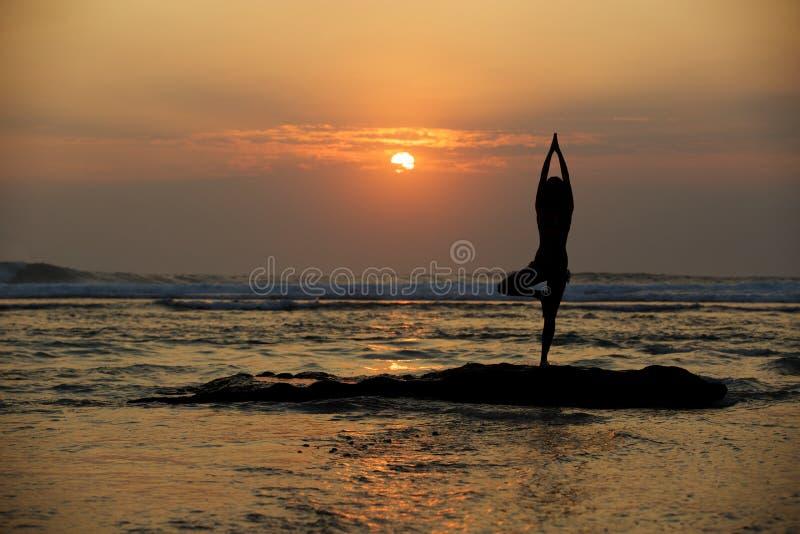 Actitud del árbol de Vrikshasana de la yoga imagenes de archivo