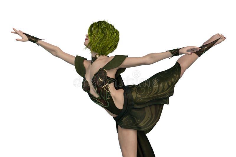 Actitud del baile de la reina del duende en un fondo blanco ilustración del vector
