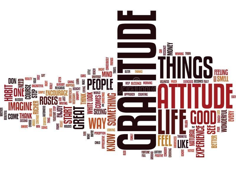 Actitud del concepto de la nube de la palabra de la gratitud libre illustration