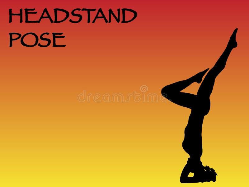 Actitud del Headstand de la mujer de la yoga ilustración del vector