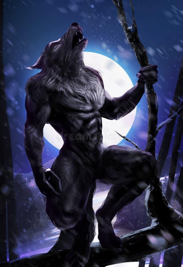Actitud del hombre lobo stock de ilustración