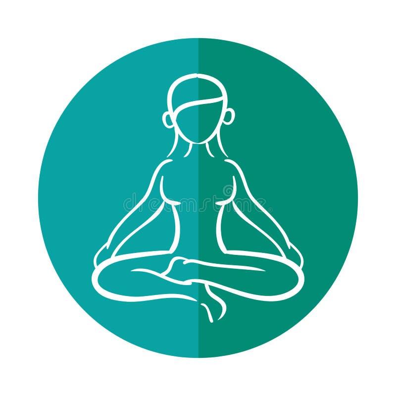 Actitud del loto de la yoga de la silueta de la mujer stock de ilustración
