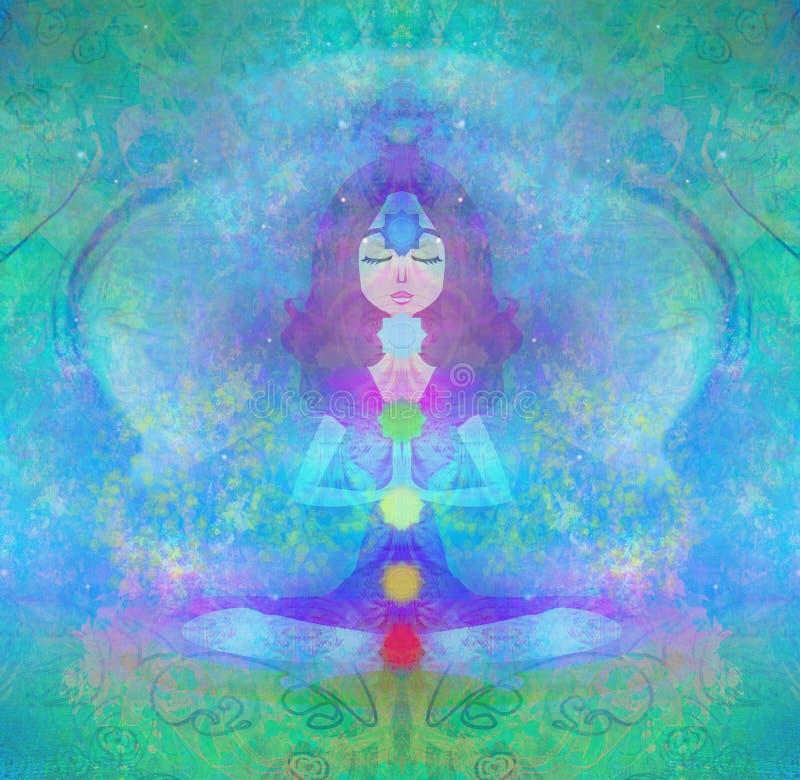 Actitud del loto de la YOGA Padmasana con los puntos coloreados del chakra stock de ilustración