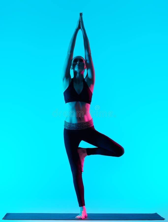 Actitud del ?rbol de los exercices de la yoga de Vriksasana de la mujer fotos de archivo libres de regalías