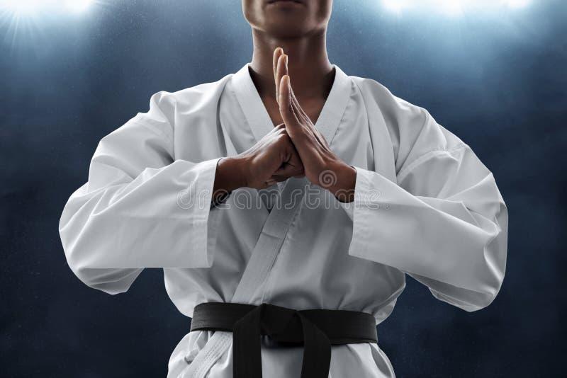 Actitud del saludo del combatiente del arte marcial fotos de archivo libres de regalías