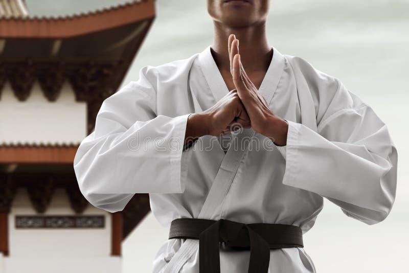 Actitud del saludo del combatiente del arte marcial foto de archivo libre de regalías