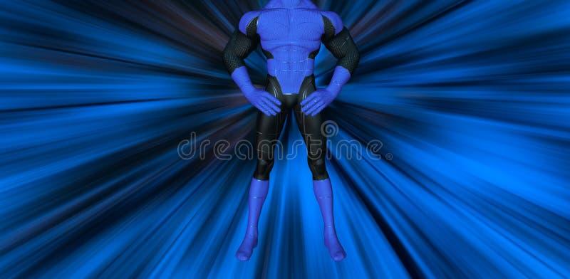 Actitud del super héroe que electrifica el ejemplo azul del fondo libre illustration
