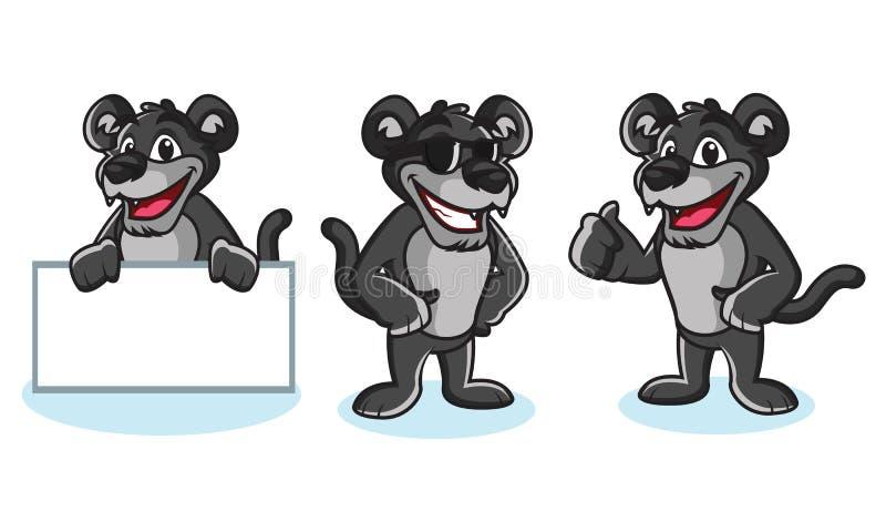 Actitud del vector de la mascota de la pantera stock de ilustración