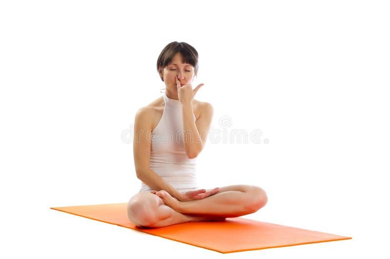 Actitud fácil de la yoga foto de archivo