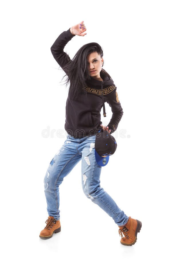 Actitud moderna de la muchacha de la danza del hip-hop en fondo aislado fotografía de archivo libre de regalías