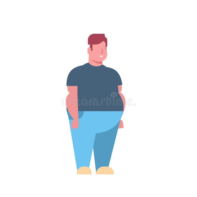 Actitud obesa gorda de la situación del hombre sobre fondo blanco integral del personaje de dibujos animados masculino gordo del  libre illustration