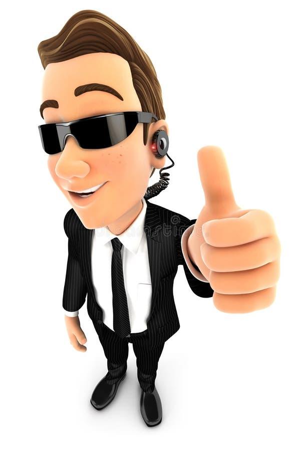 actitud positiva del agente de seguridad 3d con el pulgar para arriba libre illustration