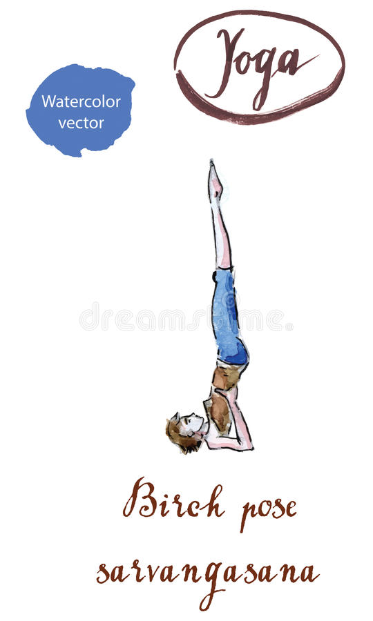 Actitud practicante del abedul de la actitud de la yoga de la mujer joven, Sarvangasana libre illustration