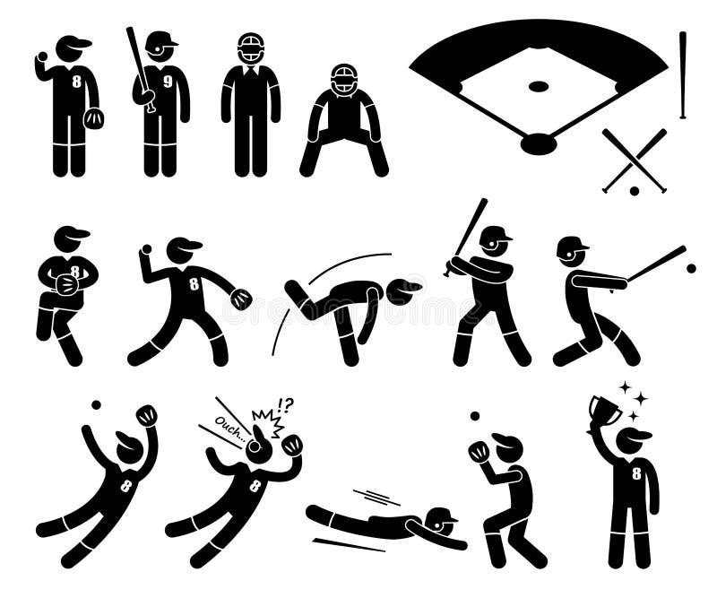 Actitudes Cliparts de las acciones del jugador de béisbol ilustración del vector