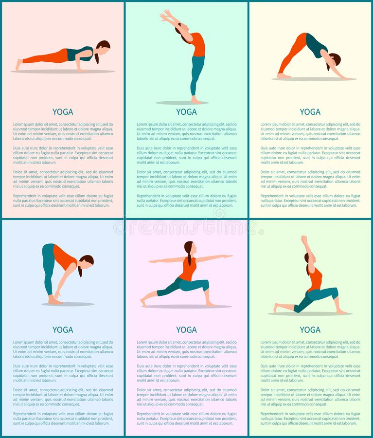 Actitudes coloridas fijadas, muchacha deportiva del cartel del vector de la yoga stock de ilustración