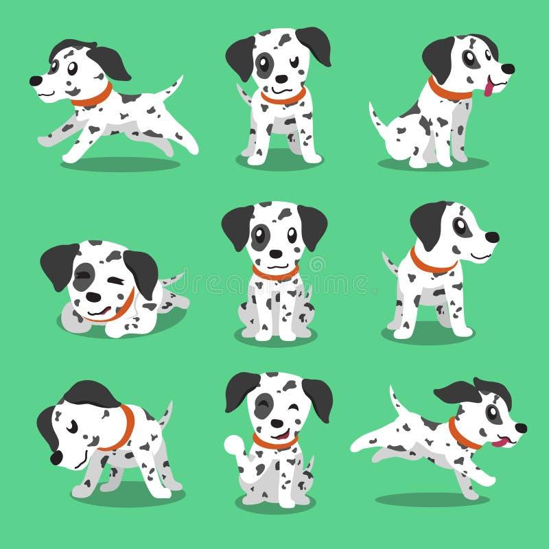 Actitudes dálmatas del perro del personaje de dibujos animados ilustración del vector