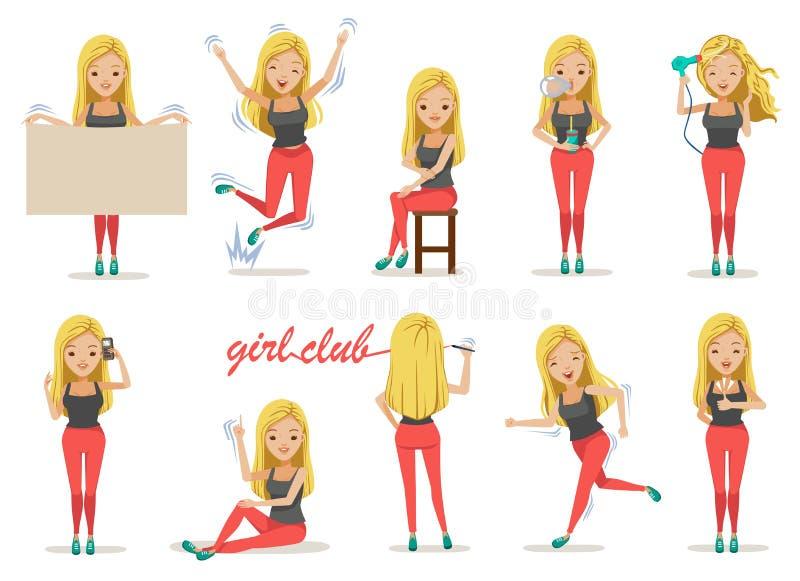 Actitudes de la muchacha stock de ilustración