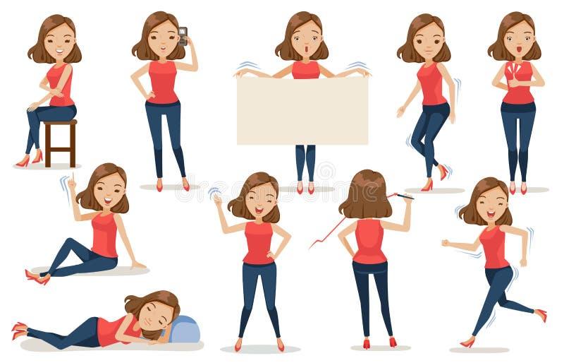 Actitudes de la mujer stock de ilustración
