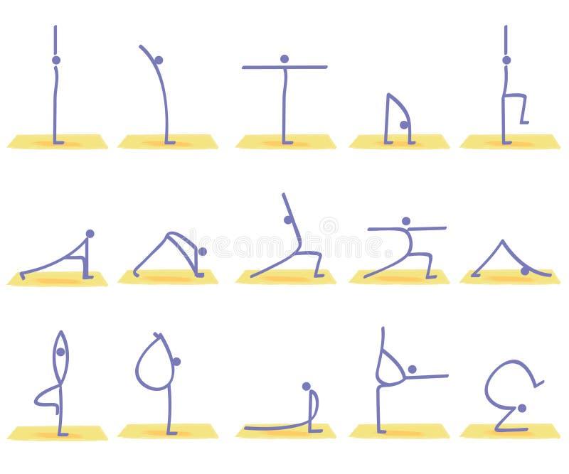 Actitudes de la yoga ilustración del vector