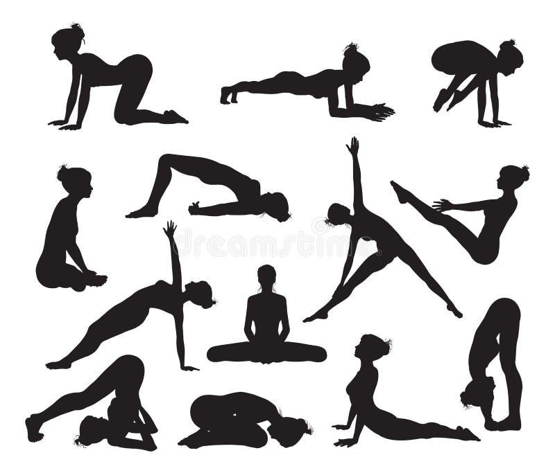 Actitudes de la yoga de la silueta stock de ilustración