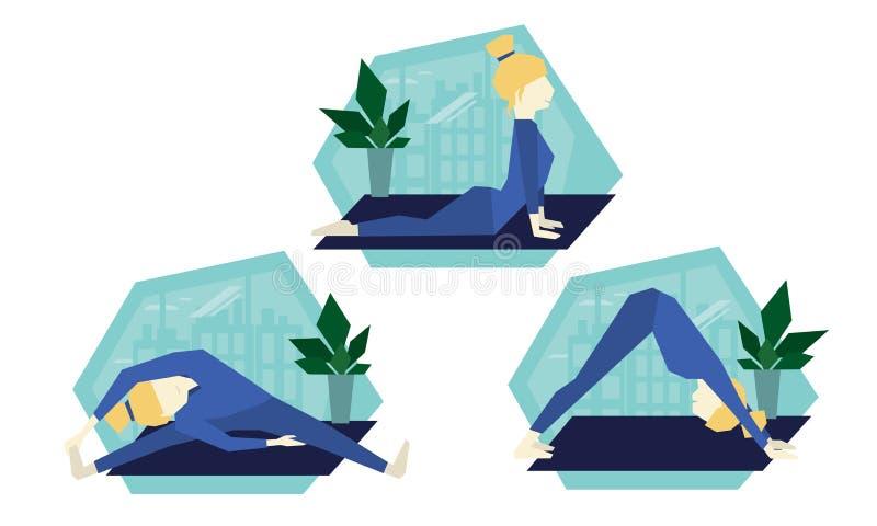 Actitudes de la yoga del vector Estilo de vida sano stock de ilustración