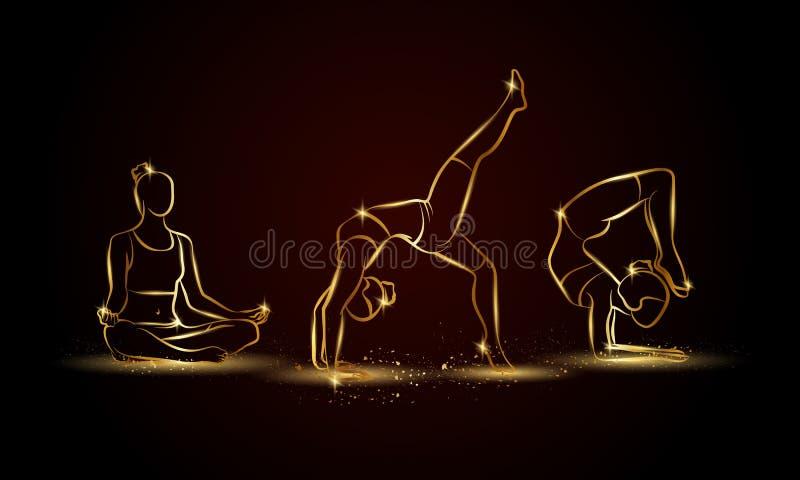 Actitudes de la yoga fijadas Ejemplo linear de oro de la yoga para la bandera, el fondo y el aviador del deporte ilustración del vector
