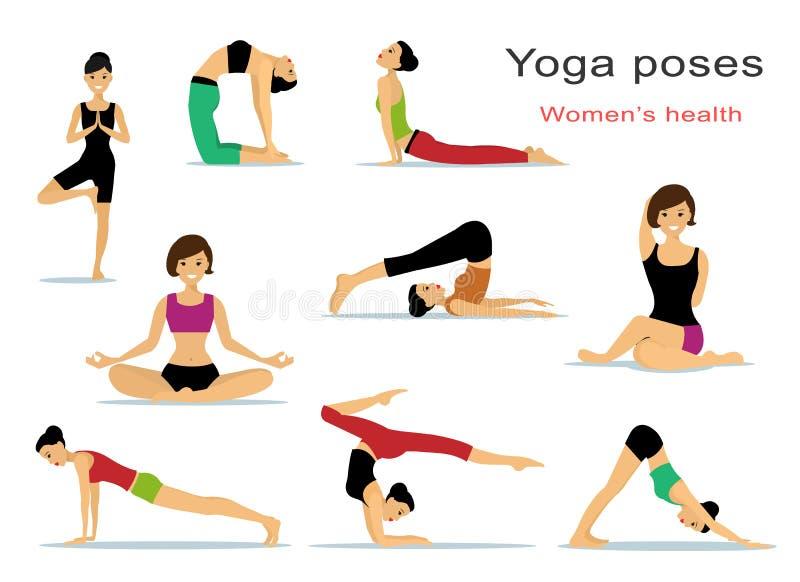 Actitudes de la yoga para las mujeres Muchachas hermosas del deporte que hacen yoga Estilo plano stock de ilustración
