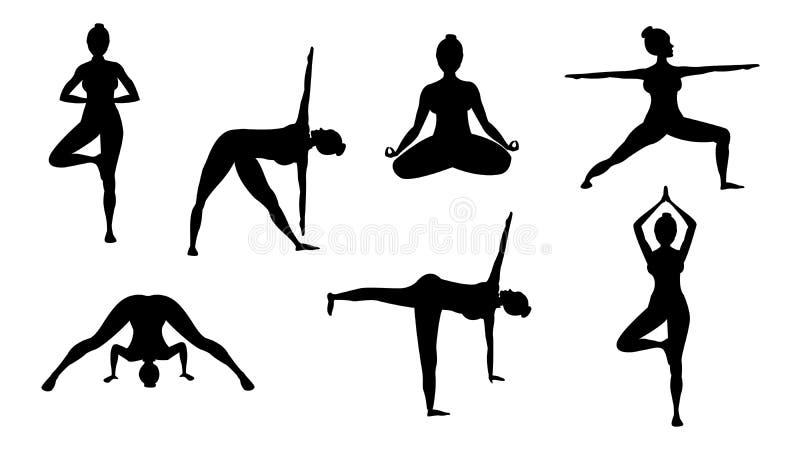 Actitudes de la yoga de la silueta ilustración del vector