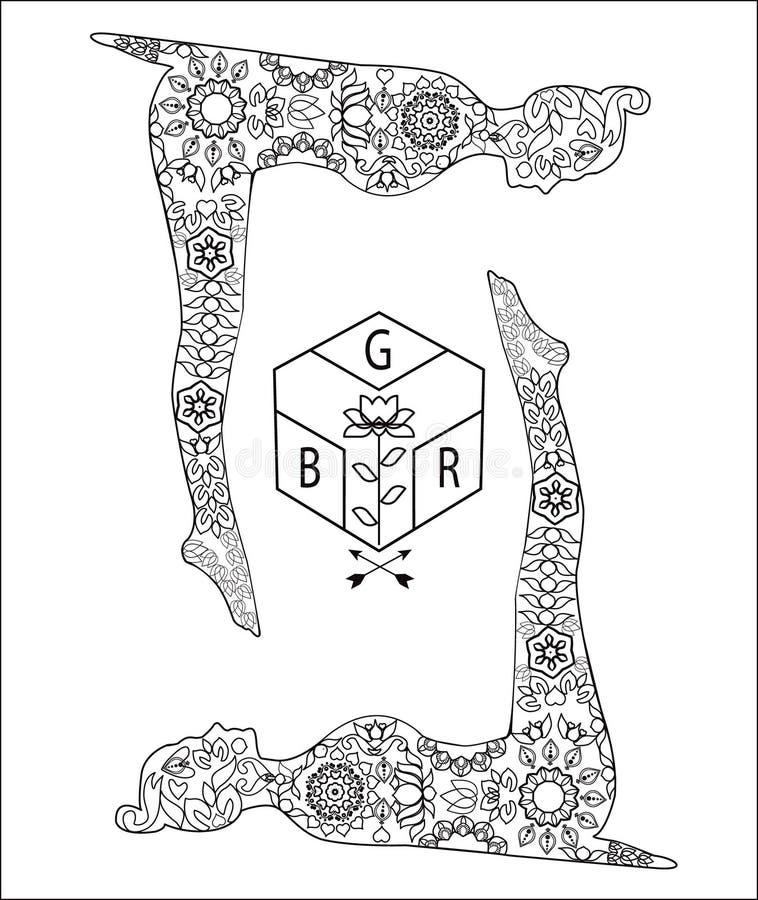 Actitudes de la yoga y logotipo del loto stock de ilustración