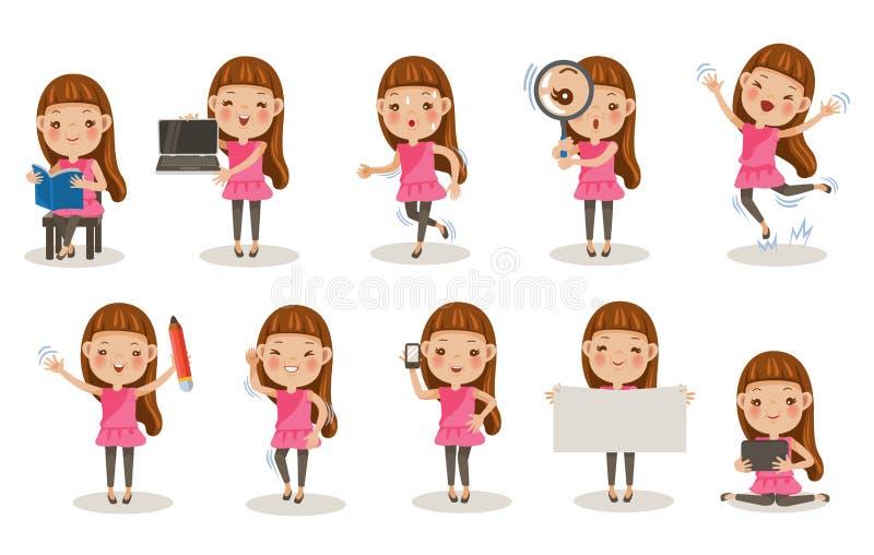 Actitudes de las muchachas stock de ilustración