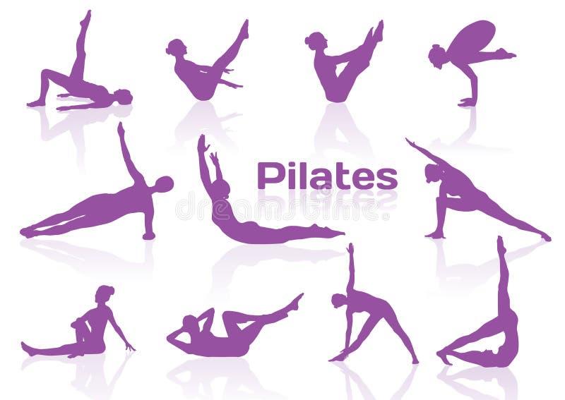 Actitudes de Pilates en las siluetas violetas ilustración del vector