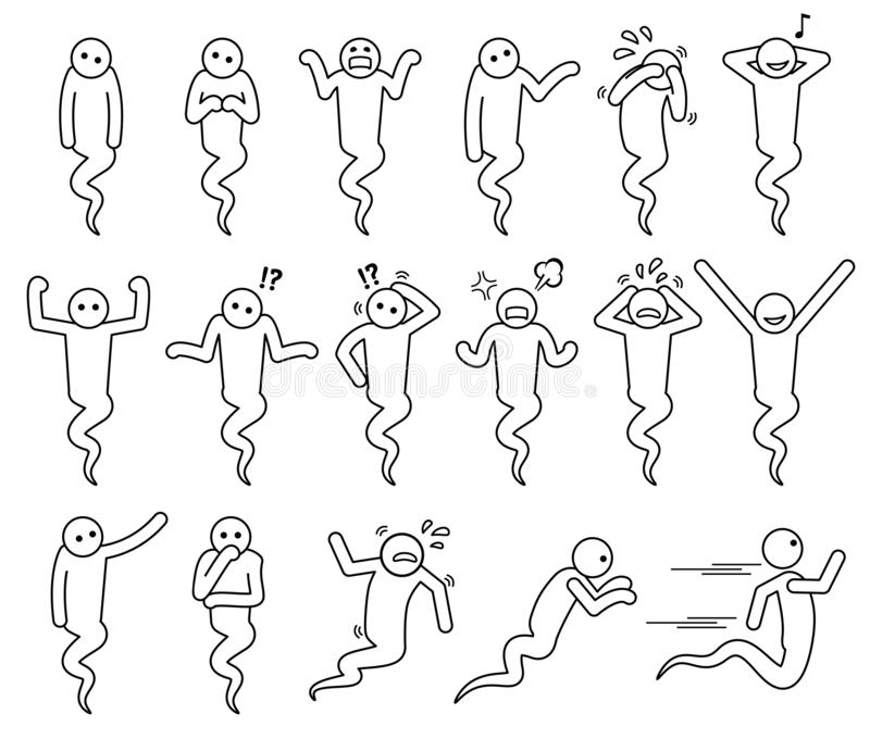 Actitudes del fantasma e iconos básicos de las posturas libre illustration