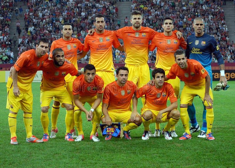 Actitudes del FC Barcelona antes de un juego fotografía de archivo